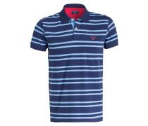 Piqué-Poloshirt - hellblau/ navy gestreift