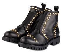 Boots mit Nietenbesatz - schwarz/ gold