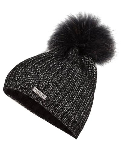 Mütze mit Pelzbommel - schwarz metallic