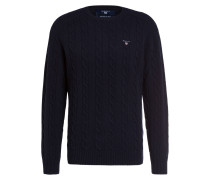 Lambswool-Pullover mit Zopfmuster