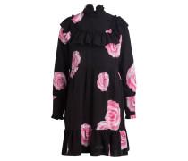 Seidenkleid FAYETTE - schwarz/ pink/ weiss