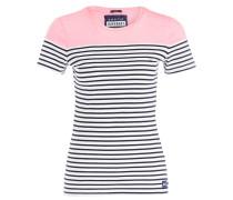 T-Shirt - neonpink/ dunkelblau/ weiss