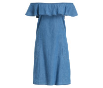 Off-Shoulder-Jeanskleid - blau