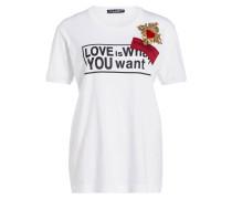 T-Shirt mit Perlbesatz