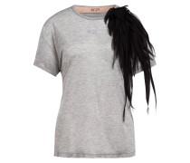 T-Shirt mit Seidenbesatz