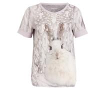 T-Shirt mit Materialmix