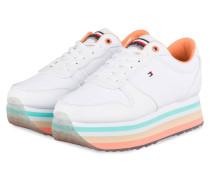 Plateau-Sneaker - WEISS/ PEACH