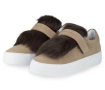 Sneaker VICTOIRE mit Pelzbesatz - beige