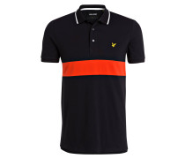 Piqué-Poloshirt - schwarz/ orangerot