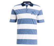 Jersey-Poloshirt - blau/ weiss