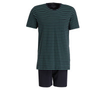Shorty-Schlafanzug - dunkelblau/ grün