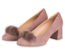 Pumps mit Fell-Pompon - ROSÉ
