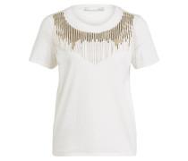 T-Shirt mit Schmuckstein-und Pailletenbesatz
