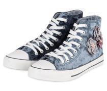 Hightop-Sneaker aus Samt - BLAU/ WEISS