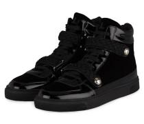 Hightop-Sneaker aus Samt - SCHWARZ