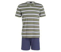 Shorty-Schlafanzug - grün/ weiss/ blau