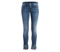 Jeans mit Fransensaum - blau