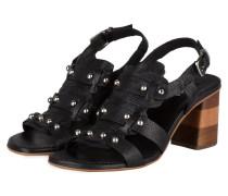 Sandalen mit Nietenbesatz - schwarz