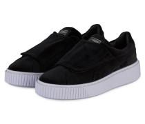 Samt-Sneaker BASKET PLATFORM - SCHWARZ