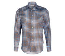 Hemd Slim-Fit - blau/ braun