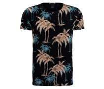 T-Shirt - schwarz/ petrol/ beige