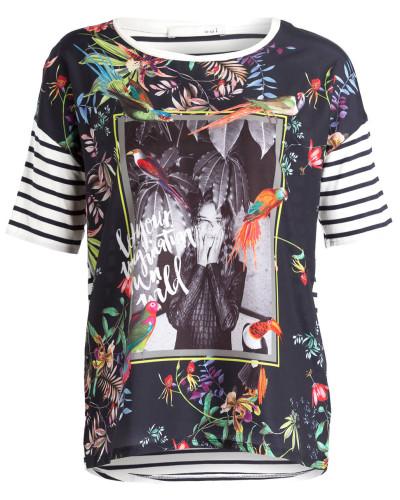 T-Shirt - ecru/ marine