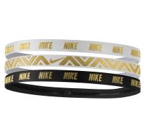 3er-Pack Haarbänder mit Metallic-Print