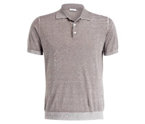 Strick-Poloshirt mit Leinenanteil