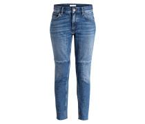 Cropped-Jeans - blue vintage denim