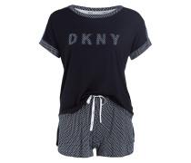 Shorty-Schlafanzug - dunkelblau/ weiss
