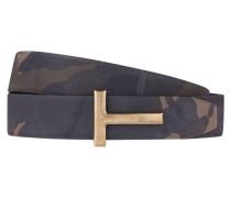 Ledergürtel - marine/ beige/ khaki