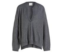 Cashmere/Seide-Pullover - grau