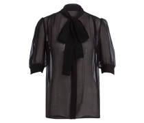Bluse mit Seidenanteil - schwarz