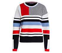 Pullover - weiss/ rot/ hellblau