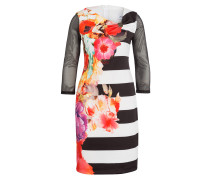 Kleid mit 3/4-Arm - schwarz/ weiss/ rot