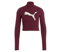 Cropped-Pullover - dunkelrot