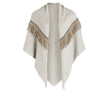 Poncho mit Cashmere-Anteil - taupe