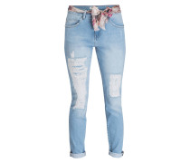 Girlfriend-Jeans - bleached blue