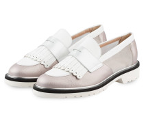 Plateau-Loafer - weiss / taupe metallic