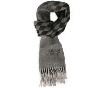 Schal aus Kaschmirwolle in Abstufungen von Grau und Schwarz mit Rautenmuster und AC-Logo