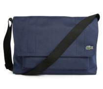 Marineblaue Messenger-Tasche mit Klappe und Lacoste-Logo