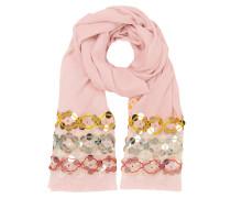 Pink Blossom Oblong langer Schal aus Wolle mit Fransen