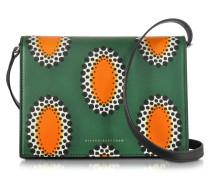 African Print Schultertasche aus Nappaleder