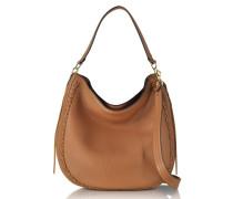 Almond Unlined Convertible Hobo-Handtasche aus Leder