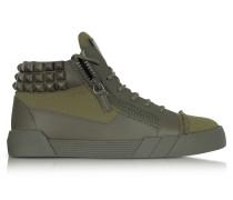 Commando Sneaker aus Canvas und Leder in militärgrün