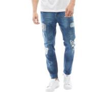 Mens Paint Splatter Detail Slim Fit Jeans Blue Denim Wash