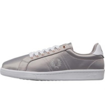 B721 Satin Freizeit Schuhe Metallic Silber