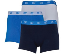 Mens Three Pack Trunks Navy/White/Blue
