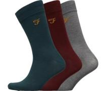 Benkwith Drei Pack Socken Burgunderrot