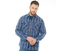 Explorer Fall Karo Hemd mit langem Arm Mittelblau